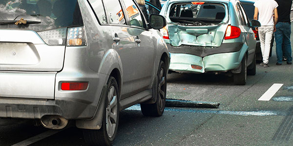Two vehicles involved in a car accident